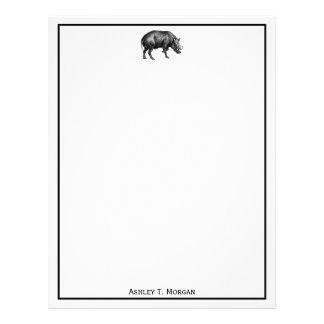 Vintage Wild Boar Drawing BW Letterhead