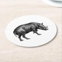 Vintage Wild Boar Drawing BW Round Paper Coaster