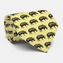 Vintage Wild Boar Drawing BW Tie