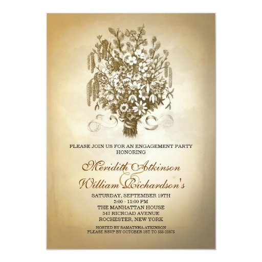 vintage wild flowers engagement party invitations