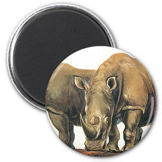 Vintage Wild Jungle Animals, Rhinos, Rhinoceros Fridge Magnet