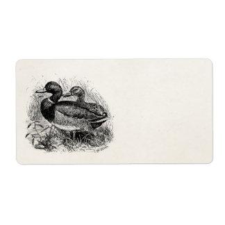 Vintage Wild Mallard Ducks Personalized Template Label