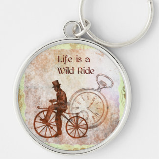 Vintage Wild Ride Steampunk Bicycle Collage Silver-Colored Round Keychain