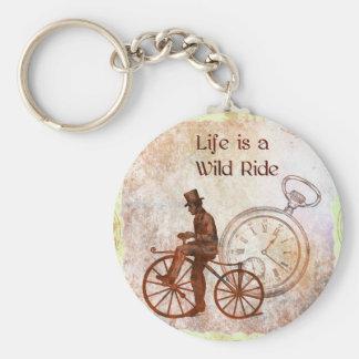 Vintage Wild Ride Steampunk Bicycle Collage Basic Round Button Keychain