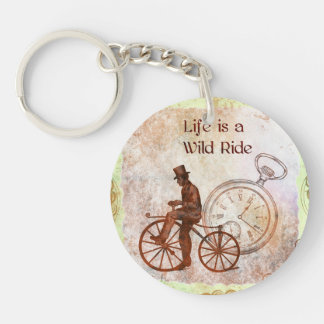 Vintage Wild Ride Steampunk Bicycle Collage Single-Sided Round Acrylic Keychain