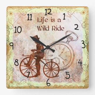 Vintage Wild Ride Steampunk Bicycle Collage Square Wall Clock