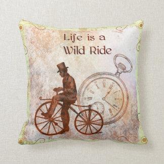 Vintage Wild Ride Steampunk Bicycle Collage Throw Pillow