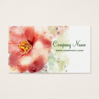 Vintage Wild Rose Watercolor Business Card
