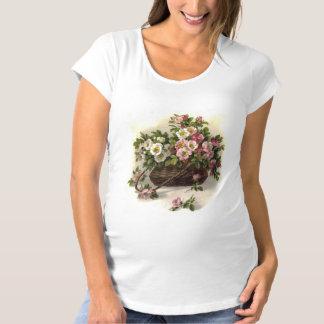 Vintage Wild Roses Basket Maternity T-Shirt