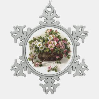 Vintage Wild Roses Basket Ornament