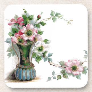 Vintage Wild Roses in Vase Drink Coaster
