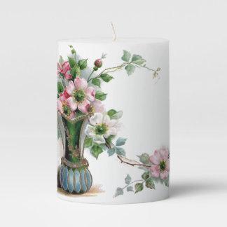 Vintage Wild Roses in Vase Pillar Candle