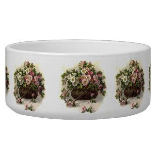 Vintage Wild Roses Pet Bowl