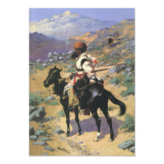 Vintage Wild West, An Indian Trapper by Remington 5x7 Paper Invitation Card