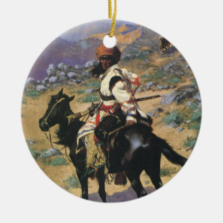 Vintage Wild West, An Indian Trapper by Remington Ceramic Ornament