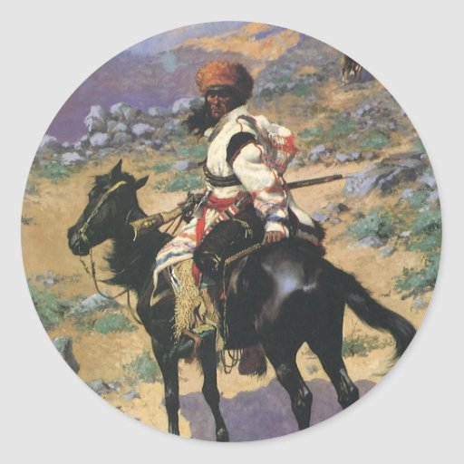 Vintage Wild West, An Indian Trapper by Remington Classic Round Sticker