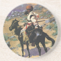 Vintage Wild West, An Indian Trapper by Remington Drink Coaster