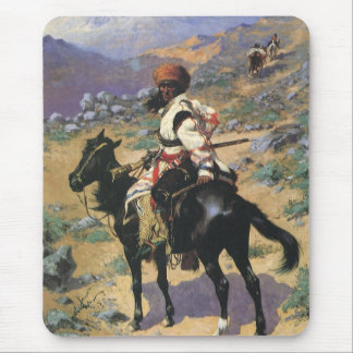 Vintage Wild West, An Indian Trapper by Remington Mouse Pad