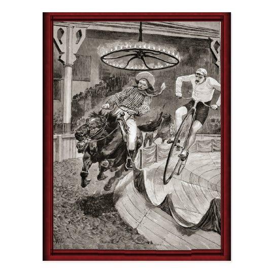 Vintage wild west bicycle race postcard
