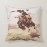 Vintage Wild West Cowboy On Bucking Horse Western Throw Pillow at Zazzle