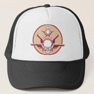 Vintage Wild West Skull, Revolver & Sheriff Badge Trucker Hat
