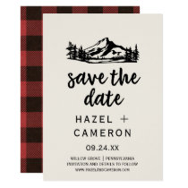 Vintage Wilderness | Buffalo Plaid Save the Date Card