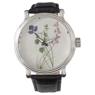 Vintage Wildflowers Botanical Yellow Purple Pink Wrist Watches