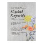Vintage Wildflowers Bridal Shower Invitations Custom Invitations