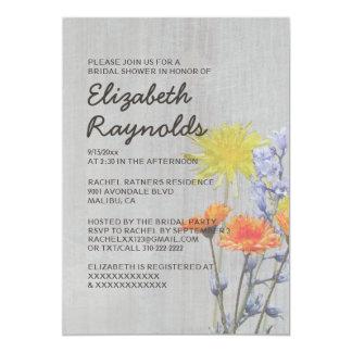 Vintage Wildflowers Bridal Shower Invitations