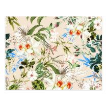 Vintage Wildflowers Pattern Postcard