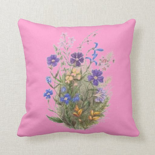 Vintage Wildflowers Pink Pillow Throw Pillow