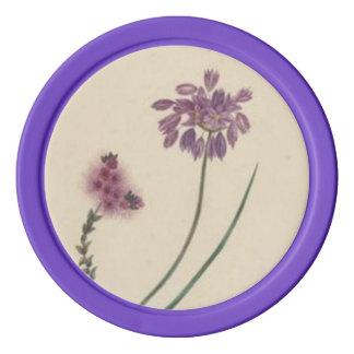 Vintage Wildflowers Pink Purple Poker Chips