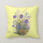 Vintage Wildflowers Yellow Pillows Throw Pillows
