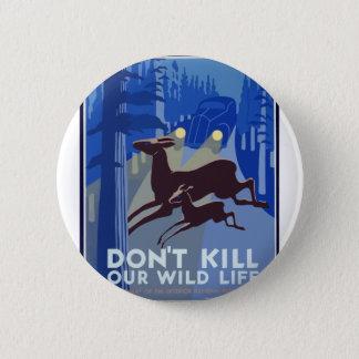 Vintage Wildlife Animal Pinback Button