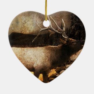 vintage wildlife woodland rustic forest elk ceramic ornament