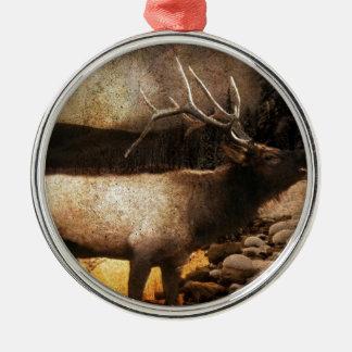 vintage wildlife woodland rustic forest elk metal ornament