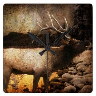 vintage wildlife woodland rustic forest elk square wall clock