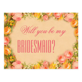 Vintage Will you be my bridesmaid postcard