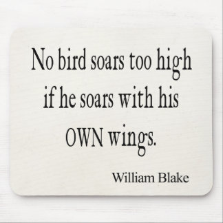 Vintage William Blake Bird Soar Own Wings Quote Mouse Pad