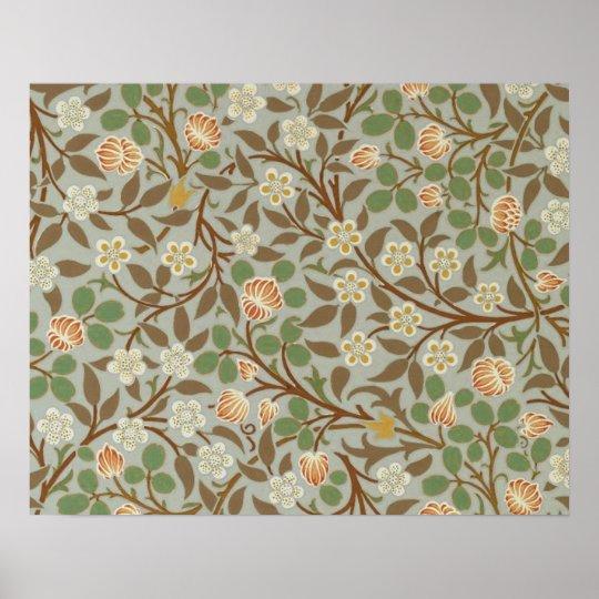 Vintage William Morris Clover Floral design Poster