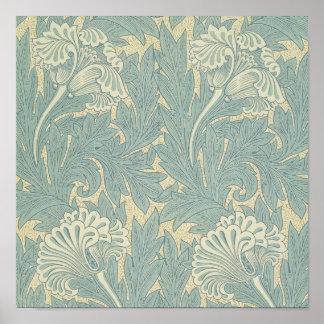 Vintage William Morris Tulip Floral Design Poster