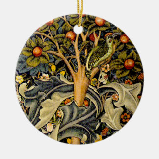 Vintage William Morris Woodpeckers Ceramic Ornament