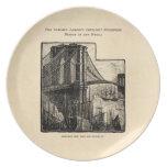 Vintage Williamsburg Brooklyn Bridge New York City Dinner Plate