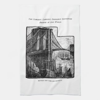 Vintage Williamsburg Brooklyn Bridge New York City Kitchen Towel