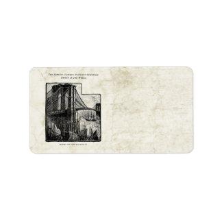Vintage Williamsburg Brooklyn Bridge New York City Label