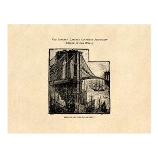 Vintage Williamsburg Brooklyn Bridge New York City Postcard