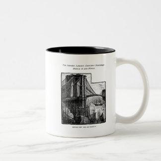 Vintage Williamsburg Brooklyn Bridge New York City Two-Tone Coffee Mug
