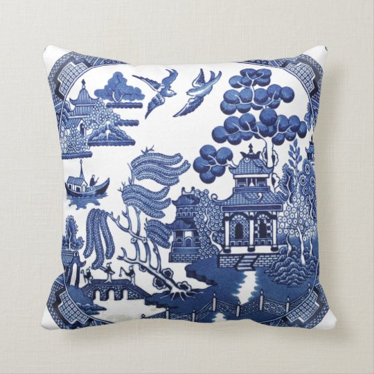 Vintage willow pattern throw pillow