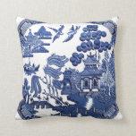 Vintage willow pattern throw pillows