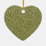 Vintage Willow William Morris Wallpaper Design Double-Sided Heart Ceramic Christmas Ornament
